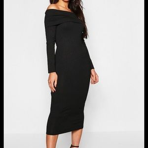 Boohoo jumbo rib off the shoulder dress